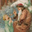 Christmas Postcard Santa Claus Wearing Brown Coat Child Praying Unposted