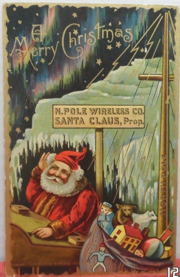 Christmas Postcard Santa Claus North Pole Wireless Company Glossy