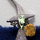 Halloween Witch Brooch or Pin Purple and Orange metal