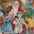 Antique Christmas Postcard Santa Claus Delivering Presents in a Car Unposted