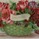 Antique Birthday Postcard Pink and Red Roses Divided Unposted Embossed Germany