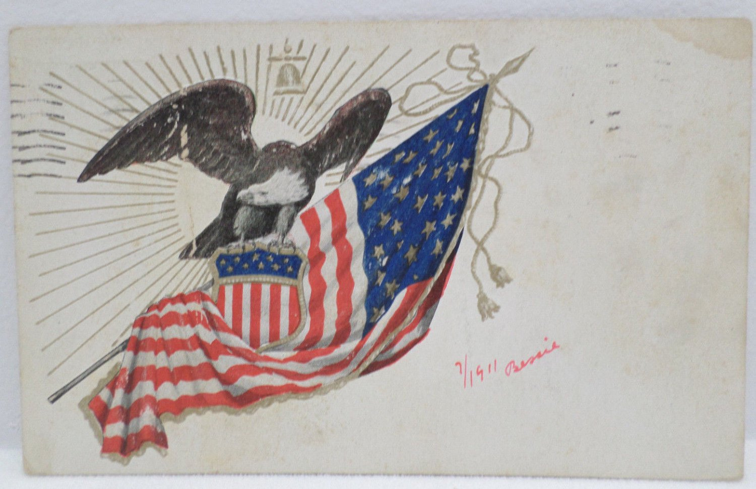 Antique Patriotic Postcard USA Flag Memorial Day Posted Divided