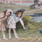 Antique Easter Postcard Chickens Chicks Embossed Posted Divided