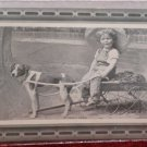 Antique Real Photo Postcard Child in Wagon Led by Dog Divided Unposted