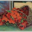 Antique  Postcard Birthday Basket of Red Flowers Embossed Unposted Germany