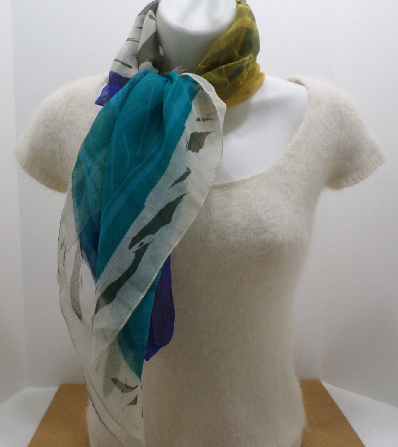 Vintage Scarf Made in Italy 100% Polyester Blue Tan Black Turquoise 35 x 35
