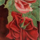 Antique Birthday Postcard Pink and Red Roses Embossed posted Germany