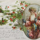 1907 Antique Christmas Postcard Santa Claus Dressed in Pink Robe Blue Mittens