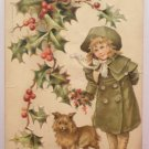 Antique Christmas Postcard Little Girl and Dog Embossed Posted Divided