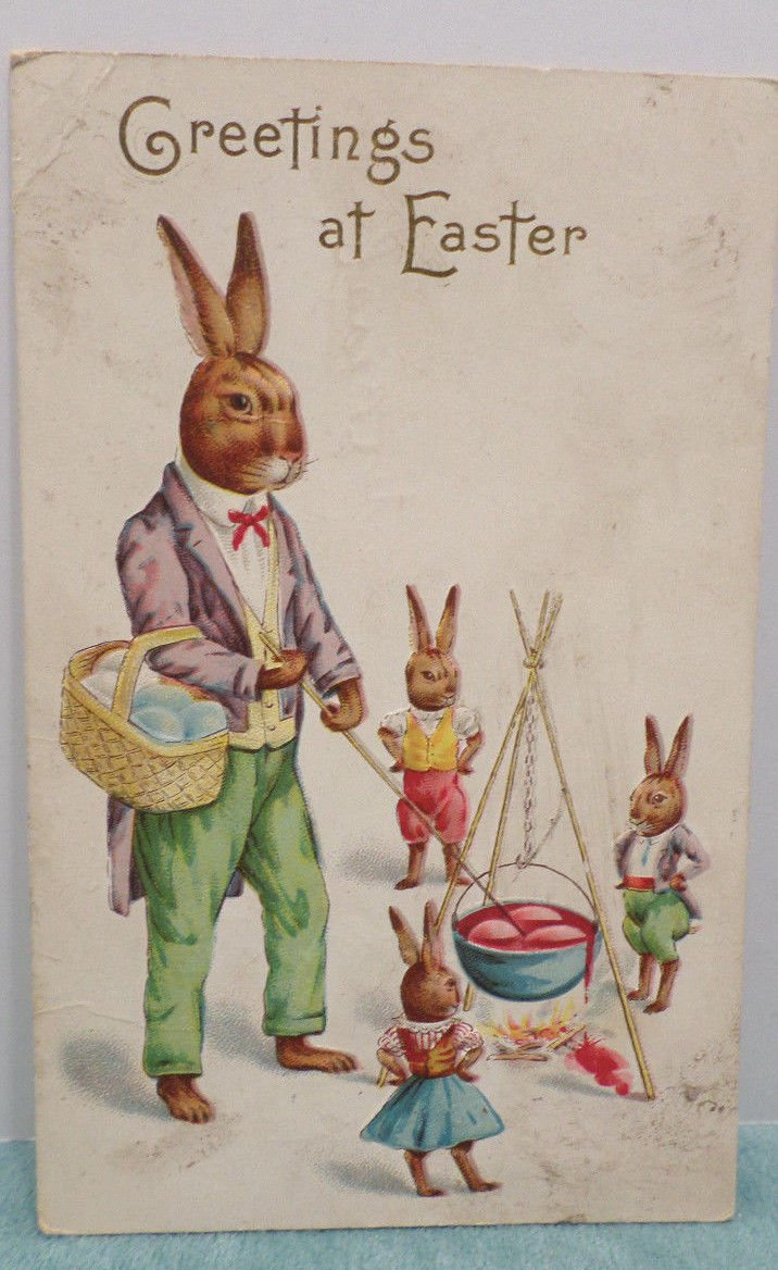 Antique Easter Postcard Humanized Rabbits Embossed Unposted Divided
