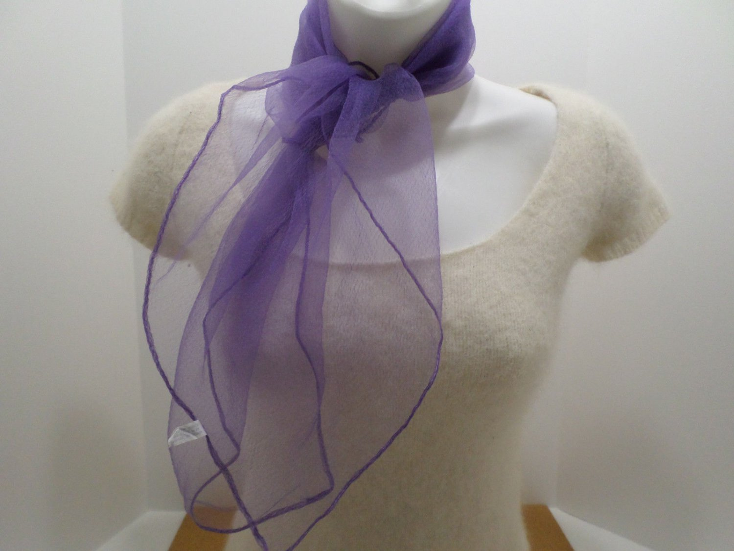 Vintage Purple Scarf 100% Nylon Made in Japan 27 x 28 RN20946