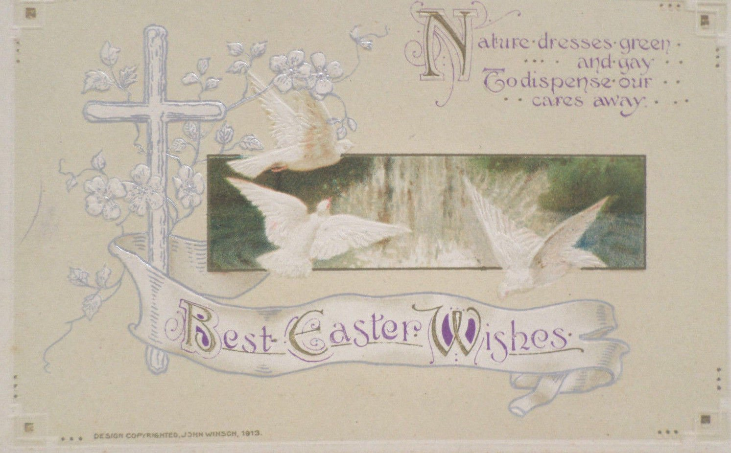 Antique Easter Postcard Doves Cross Winsch Germany Embossed Unposted Divided