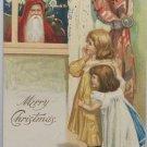 Antique Christmas Postcard Santa Claus Looking Through the Window Undivided