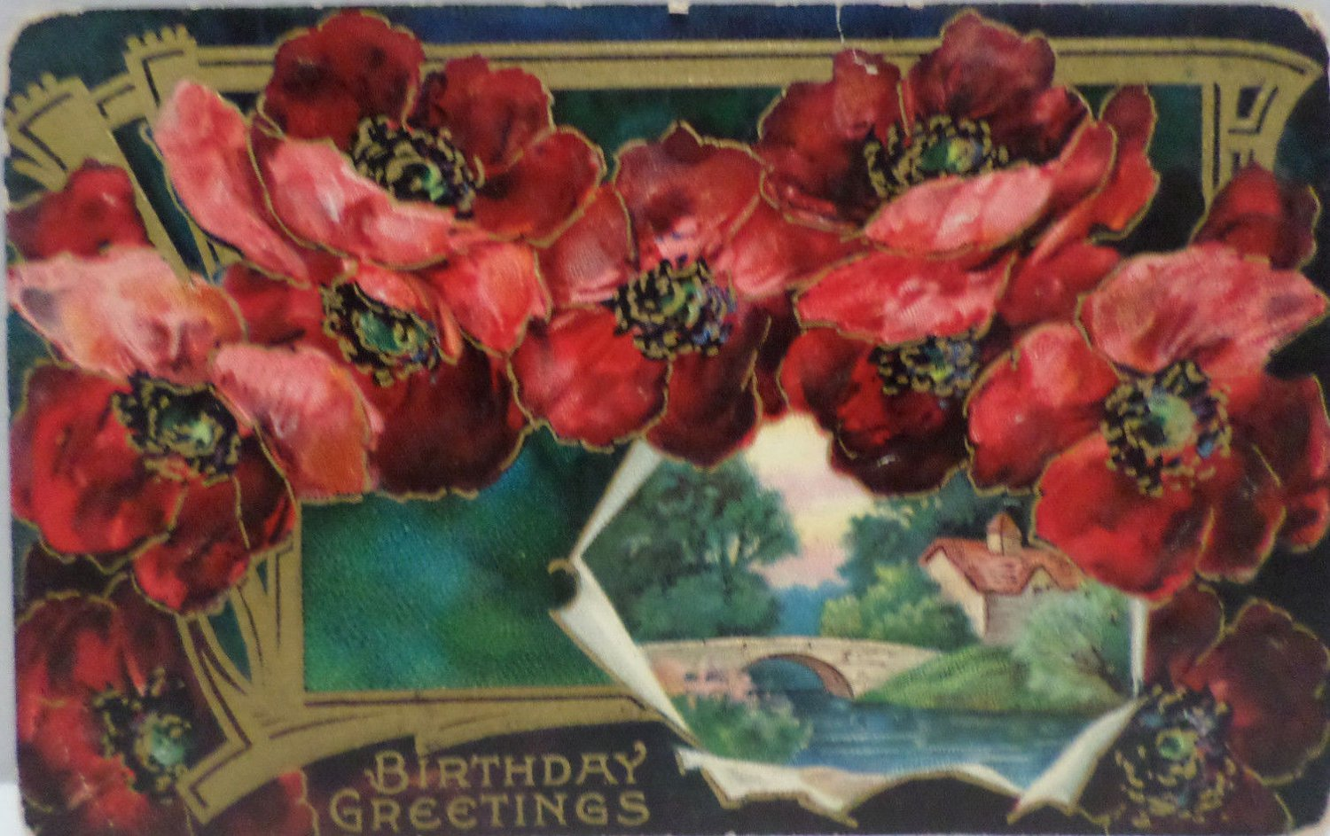 Antique Birthday Postcard Pink and Red Flowers Divided Unposted Embossed Germany