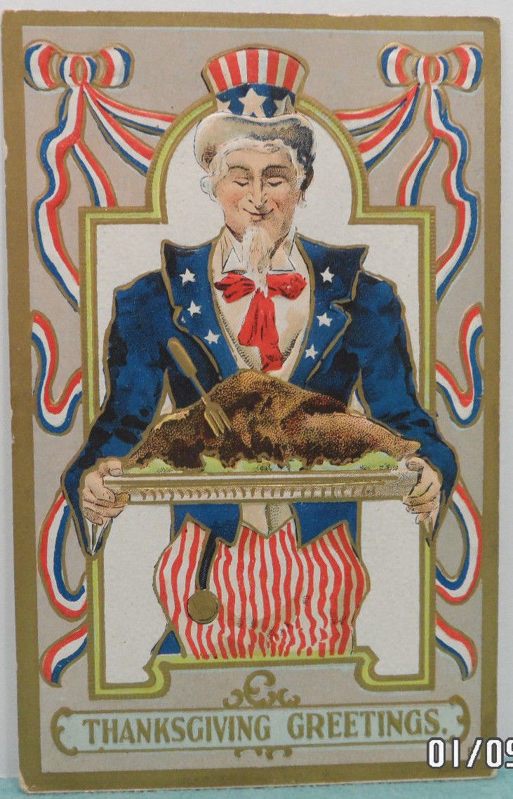 Antique Thanksgiving Postcard Uncle Sam Turkey Embossed Posted Divided