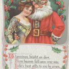 Antique Christmas Postcard Santa Claus with his Arms Around a Woman