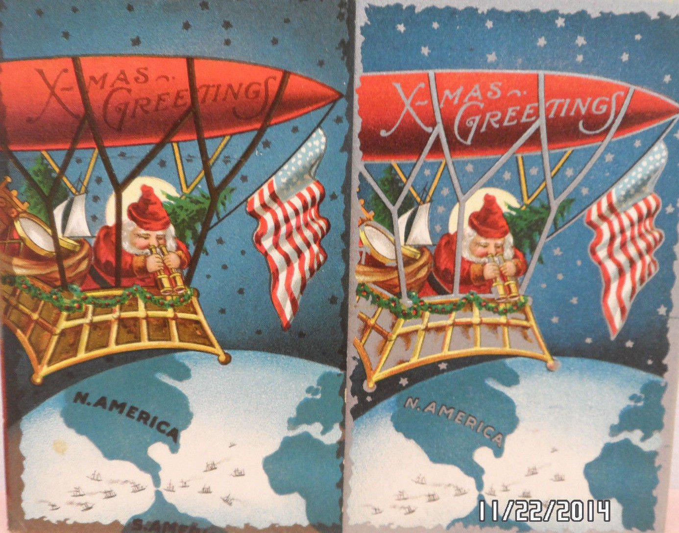 Antique Christmas Postcards Santa Claus in a Blimp with United States Flag 2 pcs