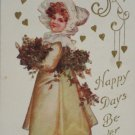 Antique Birthday Postcard Little Girl Unposted Divided Embossed