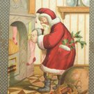 Christmas postcard Santa Claus filling stockings embossed posted divided