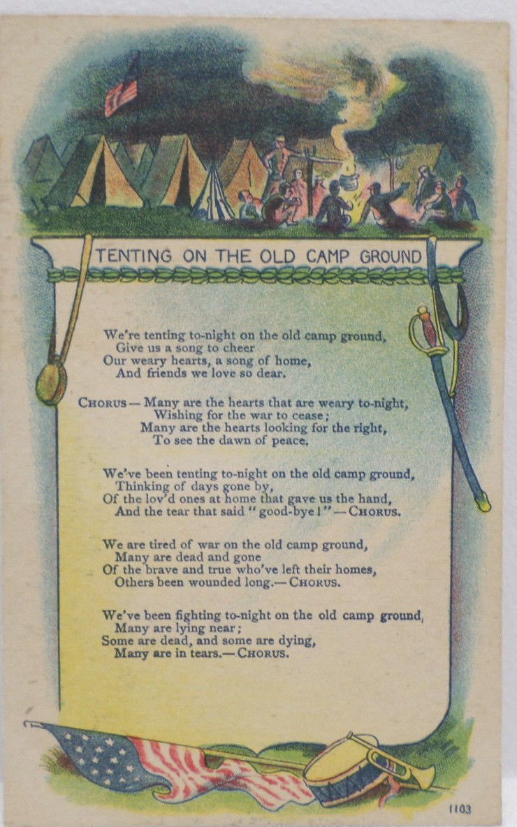 Antique Postcard Tenting on the Old Campground Unposted Divided