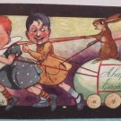 1906 Easter Postcard Children Pulling Rabbit on Egg Tuck & Sons Posted Divided