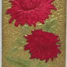 Antique Birthday Postcard Silk Flowers Embossed Unposted