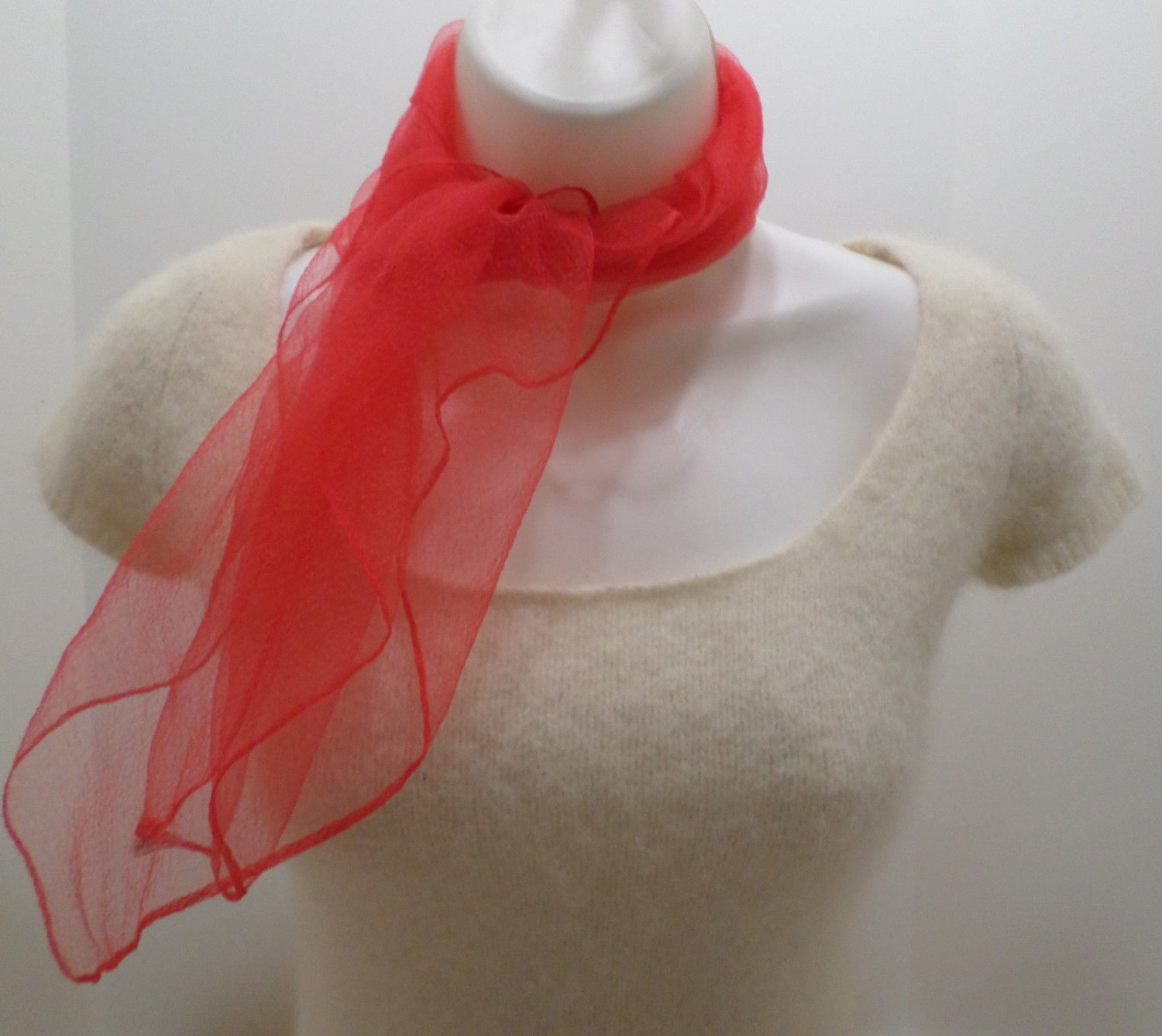 Vintage Red Scarf 100% Nylon Made in Japan 27 x 28