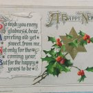 Antique 1912 New Year Postcard by John Winsch Germany Embossed Posted Divided