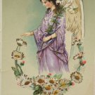 Antique Easter Postcard Angel Floral Posted Divided Glossy Germany