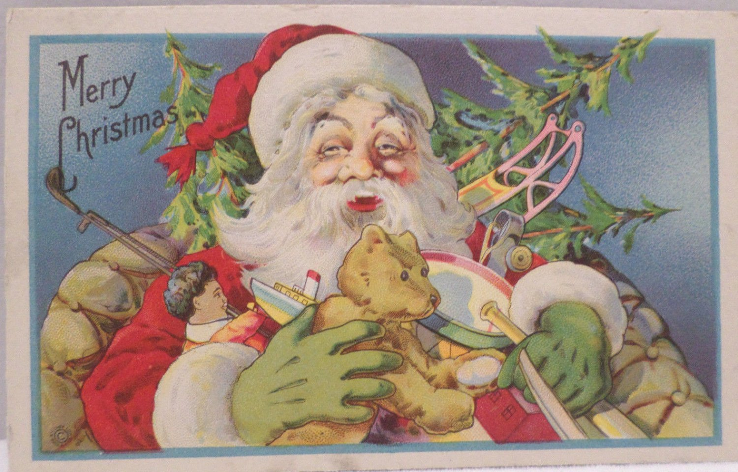 Antique Christmas Postcard  Santa Claus Wearing Green Gloves Unposted Divided