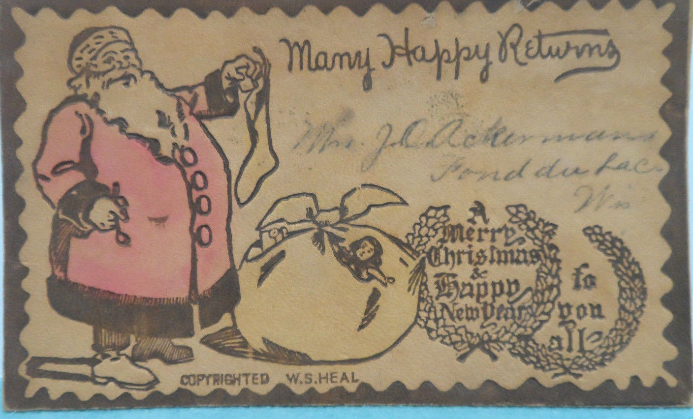 Antique Leather Christmas Postcard Santa Claus Holding a Stocking Undivided 1907