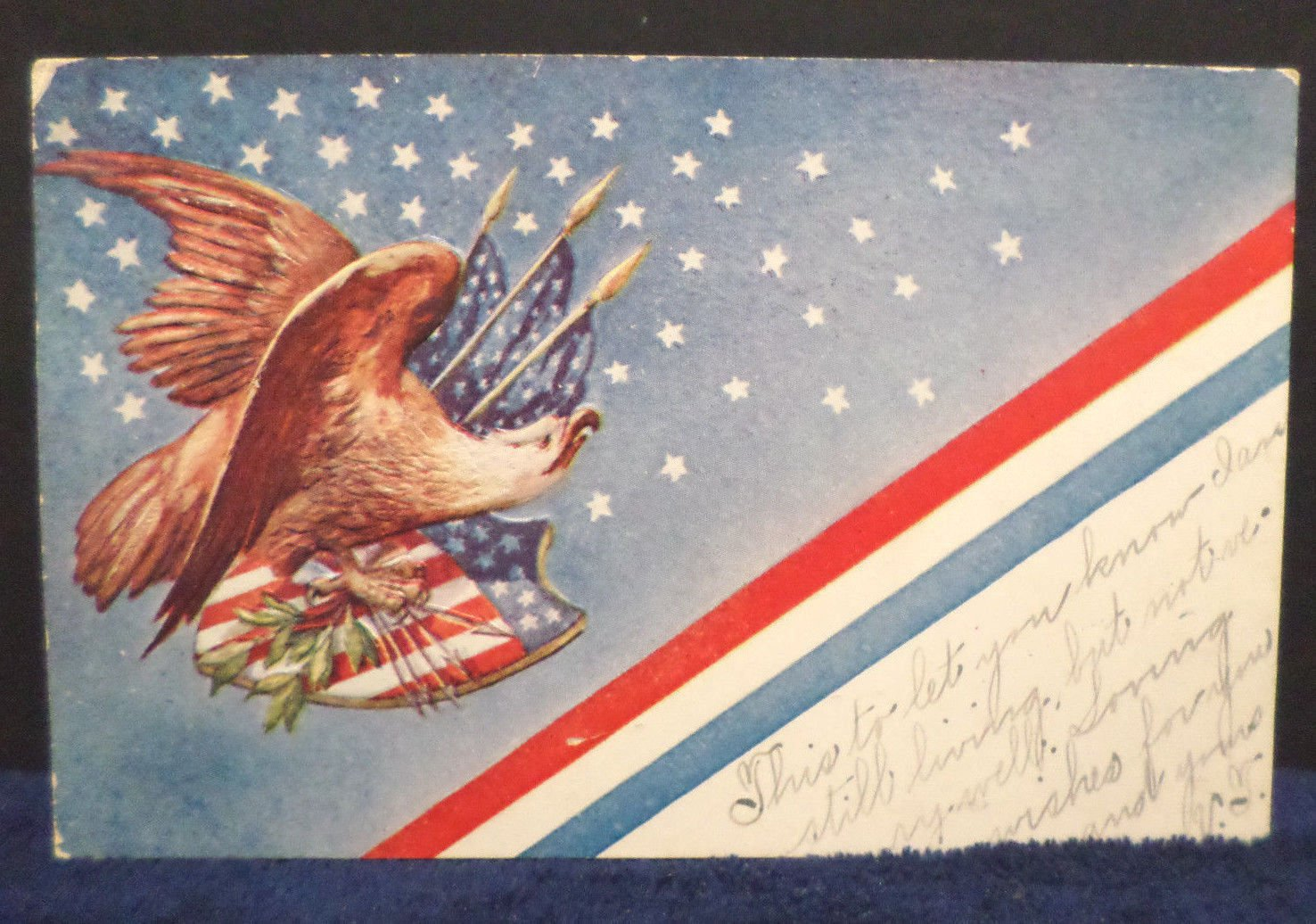 Antique Postcard Patriotic The American Eagle Posted Undivided