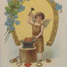 Antique 1908 Valentine Postcard Boy Makes Heart Divided and Posted Gerrmany