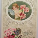 1910 Valentine Postcard Angel with Roses by John Winsch Germany Divided Unposted