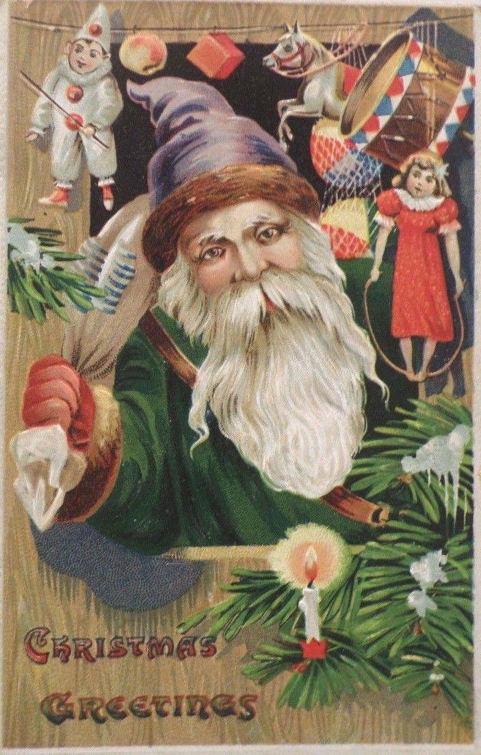 Antique Christmas postcard Santa Claus in Green Robe Purple Hat