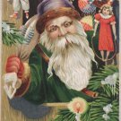 Antique Christmas postcard Santa Claus in Green Robe Purple Hat