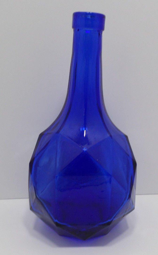 Vintage Bottle Cobalt Blue Glass with a Geometrical Shaped Base