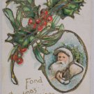 Antique Christmas Postcard Santa Claus White Coat Green Holly Unposted Divided
