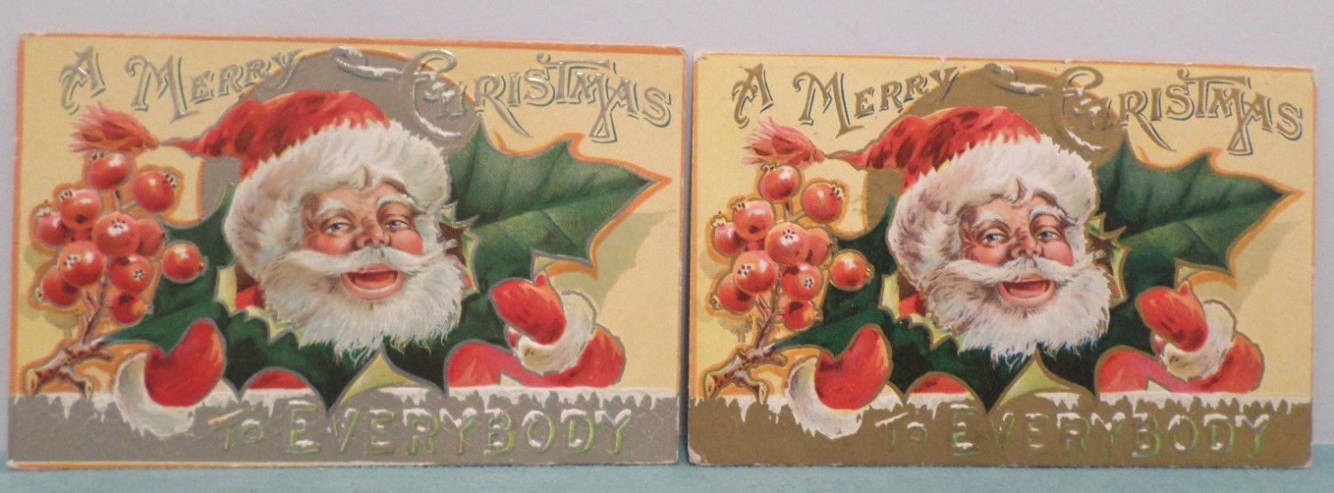 Antique Christmas Postcard Santa Claus Embossed Divided Posted Lot of 2