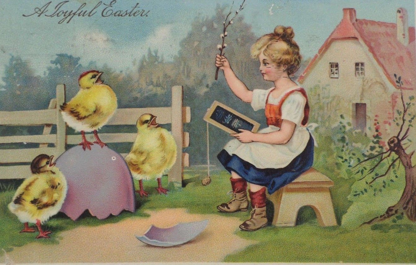 Antique Easter Postcard Girl Chicks Egg Glossy Embossed Posted Divided