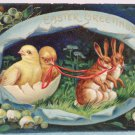 1912 Easter Postcard Rabbits Pulling an Egg Shell of Chicks Germany Posted