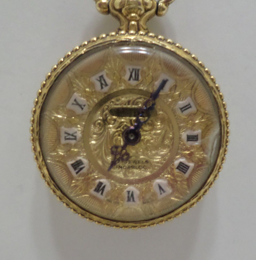 Vintage Ladies Necklace Watch Pedre Meabloc 17 Jewels Manual Wind Swiss Made