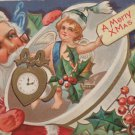 Christmas Postcard Santa Claus Unposted Embossed Divided