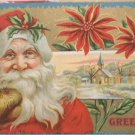 Antique Christmas postcard Santa Claus Dressed in Red Wearing Brown Mittens
