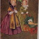 Antique Christmas Postcard Two Women and a Baby Unposted Undivided
