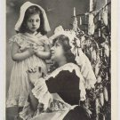 Antique Christmas Postcard Little Girls Black and White Unposted Divided