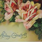 Antique Birthday Postcard Pink Roses Divided Posted Embossed