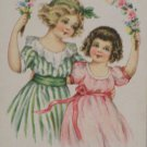 Antique Birthday Postcard Little Girls posted Divided
