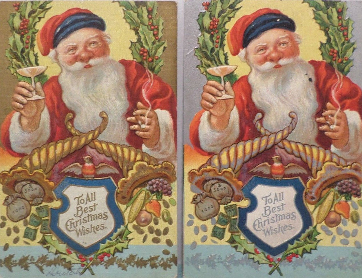 Antique Christmas Postcards Santa Claus Having a Drink and Smoking a Cigar 2 pcs
