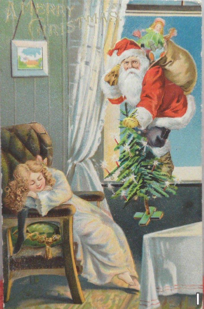 Antique Christmas Postcard Santa Claus Climbing Through Window Divided Posted